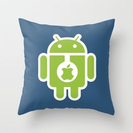 Android eats Apple Throw Pillow