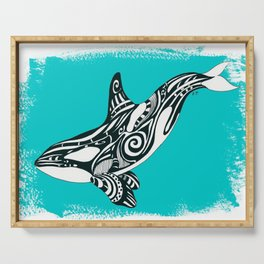 Orca Killer Whale Teal Tribal Tattoo Serving Tray