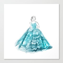 Girl In Teal Alcohol Ink Ball Gown Canvas Print