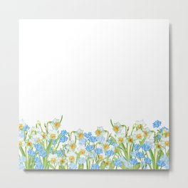 Watercolor Narcissus and Forget-me-not Metal Print