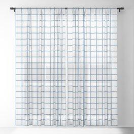 Minimalism Window Pane Grid, Blue on White Sheer Curtain