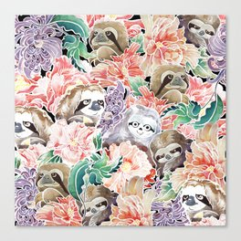 Because Sloths Watercolor Canvas Print