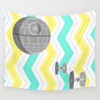 death star Wall Tapestries featuring Star Wars Death Star Chevrons by foreverwars