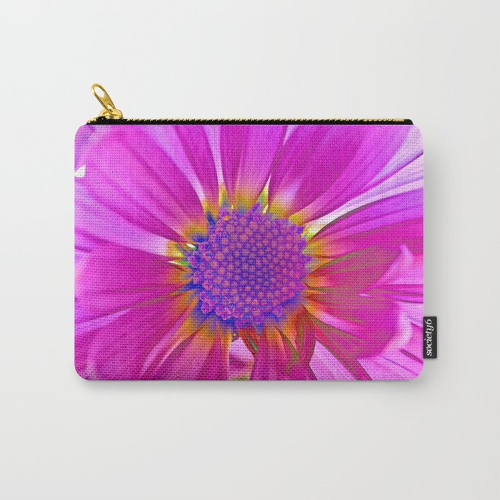Neon Pink Daisy Carry-All Pouch
