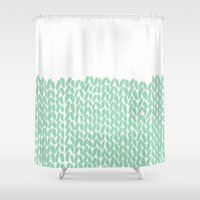 knit Shower Curtains featuring Half Knit Mint by Project M
