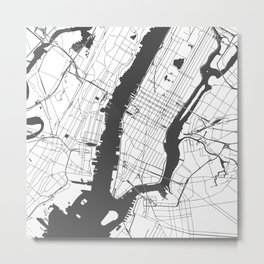 New York City White on Gray Street Map Metal Print