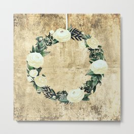 Wreath #White Flowers #Royal collection Metal Print