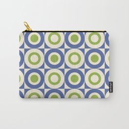 Mid Century Square and Circle Pattern 541 Blue and Green Carry-All Pouch