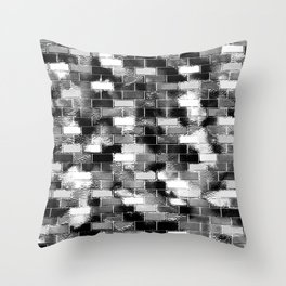 BRICK WALL SMUDGED (Black, White & Grays) Throw Pillow
