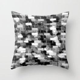 BRICK WALL SMUDGED (Black, White & Grays) Throw Pillow