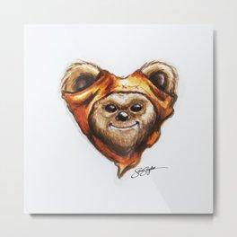 Ewok Star Wars Heart Art Metal Print