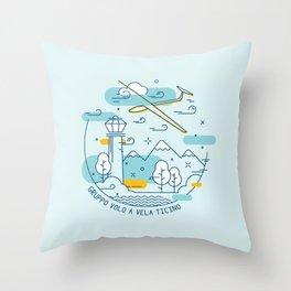 GVVT - Line art colors version Gruppo Volo a Vela Ticino Throw Pillow