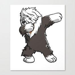 Funny Dabbing Old English Sheepdog Dog Dab Dance Canvas Print