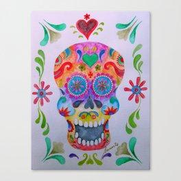 Mexican Calaca Sugar Skull Painting Canvas Print