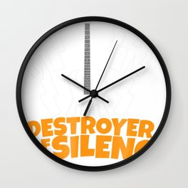 Destroyer of Silence Guitar Tshirt for Music Lover Teens Wall Clock