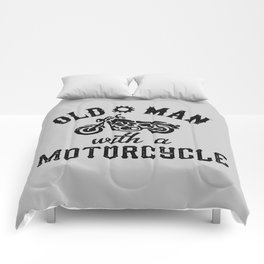 Old Man With A Motorcycle Comforters