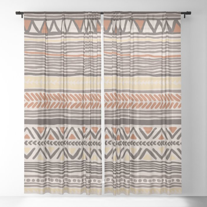 Hand Drawn Ethnic Pattern Sheer Curtain