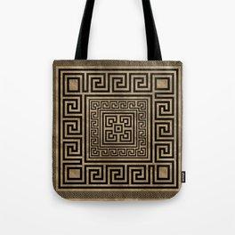 Greek Key Ornament - Greek Meander -Black on gold Tote Bag