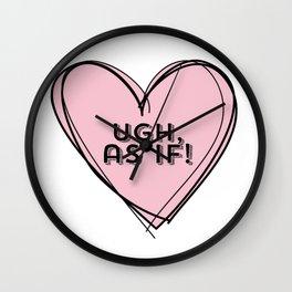 Clueless Ugh As If Pink Hand Drawn Heart Wall Clock