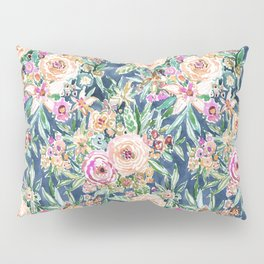 Navy MAUI MINDSET Colorful Tropical Floral Pillow Sham