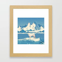 Wolf and the blue mountain Framed Art Print