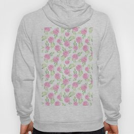 Blush pink green modern watercolor hand painted camellias Hoody