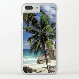 A small beach on La Digue island, the Seychelles Clear iPhone Case