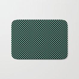 Black and Spearmint Polka Dots Bath Mat