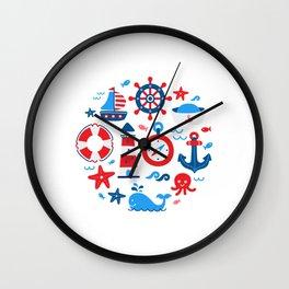 Colorful nautical symbols circle design Wall Clock