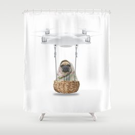 Pug Dog in a Drone Shower Curtain