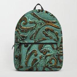 Aqua Flowers Tooled Leather Backpack