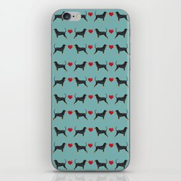 Coonhound love hearts valentines day cute dog breed gifts for coonhounds iPhone Skin