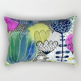 Indigo Blooms Rectangular Pillow