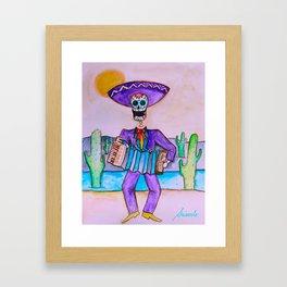 Mexican Jugador del Acordeon Dia de Los Muertos Painting Framed Art Print