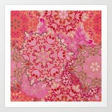 Boho Floral Mandela 3 Art Print