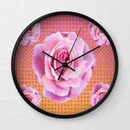 PINK GARDEN ROSES OPTICAL PATTERN ART Wall Clock