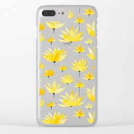 Yellow Lotus   Watercolor Pattern Clear iPhone Case