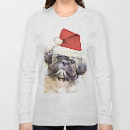 Christmas Shih Tzu puppy Long Sleeve T-shirt