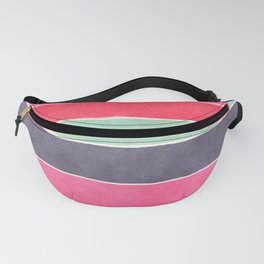 Geometric modern pink coral mint gray watercolor pattern Fanny Pack