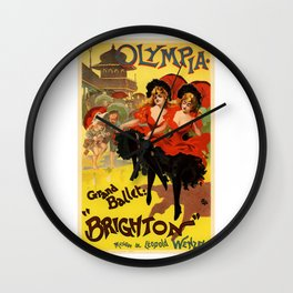 Belle Epoque vintage poster, Olympia, Grand Ballet Wall Clock