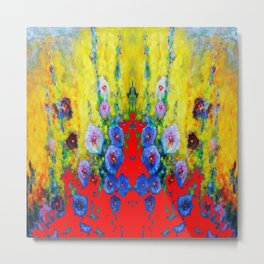 BLUE HOLLYHOCKS YELLOW & RED GARDEN MODERN ART Metal Print