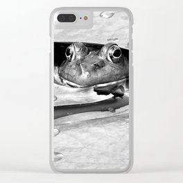 Peek a boo frog in black and white Clear iPhone Case