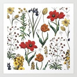 ramdom flowers Art Print