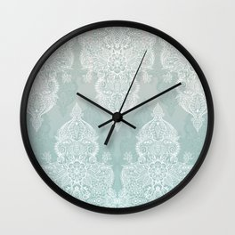 Lace & Shadows - soft sage grey & white Moroccan doodle Wall Clock