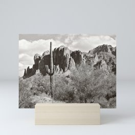 Saguaro in black and white Mini Art Print