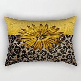 Animal Print Brown and Gold Animal Medallion Rectangular Pillow