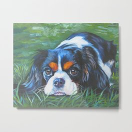 Beautiful Tricolour Cavalier King Charles Spaniel Dog Painting by L.A.Shepard Metal Print