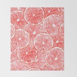 Watercolor grapefruit slices pattern Throw Blanket