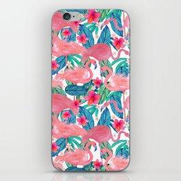 Tropical Flamingo Watercolor Floral iPhone Skin