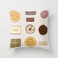 british Throw Pillows featuring British Biscuits by LuvMoo